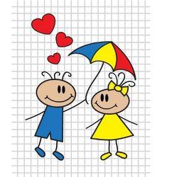 cartoon children with umbrella vector image
