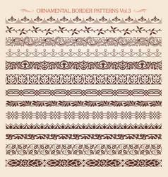 ornamental border frame line vintage patterns 3 vector image vector image
