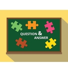 Question and answer in green board puzzle concept vector