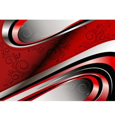Red and silver curves and patterns on red wavy fra vector image