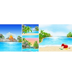Scene with beach and mountains vector image vector image