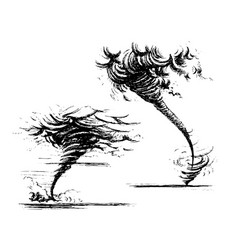 tornado sketch hand-drawn style vector image vector image