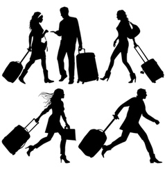 airport travelers vector image vector image