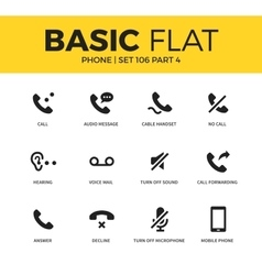 Basic set of phone icons vector image