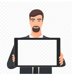 bearded businessman showing the empty tablet pc vector image vector image