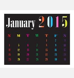 Calendar January 2015 vector image