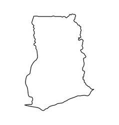 ghana map of black contour curves on white vector image vector image
