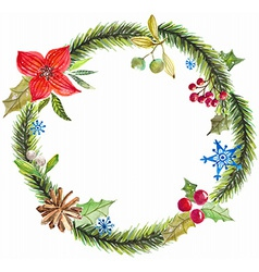 Green christmas wreath with decorations vector image vector image