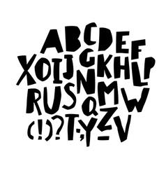 Paper Cut Alphabet Black letters Capital letters vector image