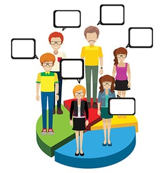 People above a pie graph vector image