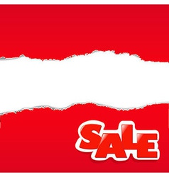 Red torn paper borders sale background vector