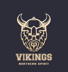 Vikings logo bearded warrior in horned helmet vector