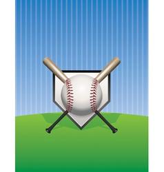 Baseball and bats on pinstripes vector