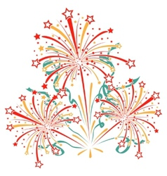 Bursting fireworks with tinsel streamers and vector image vector image