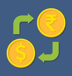 Currency exchange Dollar and Rupee vector image