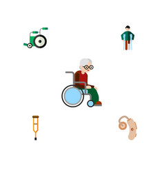 flat icon disabled set of stand injured vector image vector image