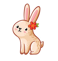 hare with flower vector image vector image