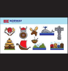 norway travel landmark symbols or norwegian vector image vector image