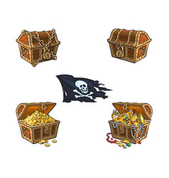 wooden treasure chest set isolated vector image vector image