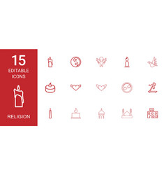 15 religion icons vector image