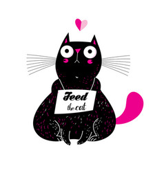 a lovely funny cat with a vector image