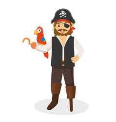 A mighty one legged hook pirate with his parrot vector