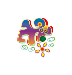 abstract dog sniffed the flower pet logo vector image