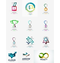 Abstract logo set geometric transparent shapes vector