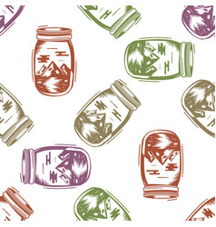 adventure jar bottle seamless pattern with vector image