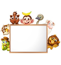 An empty signboard surrounded with animals vector