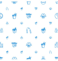 Asian icons pattern seamless white background vector