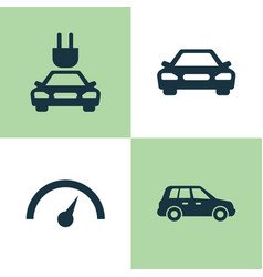Auto icons set collection of chronometer car vector