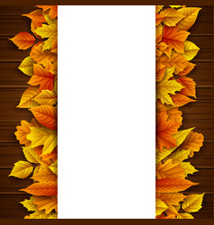 autumn leaves with blank banner vector image