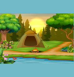 Background campsite on sunset landscape vector