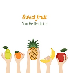 Background with Various fruits vector image