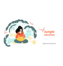 banner with a girl playing music for meditation vector image