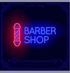 Barber shop neon light sign vector