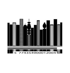 Barcode city silhouette over white background vector