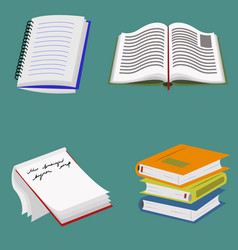 Books and notebooks set vector