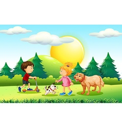 Boy and girl with pets in the park vector