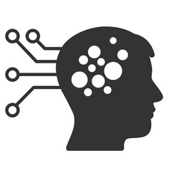 Brain interface circuit icon vector