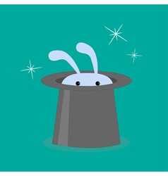 Bunny rabbit in magic hat vector