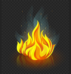 Burning campfire with fire vector