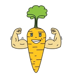 Cartoon carrot vegetable character with a smiling vector