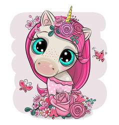 Cartoon unicorn girl with flowers on a pink vector