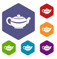 Chinese teapot icons set hexagon vector