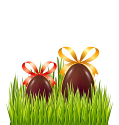 chocolate easter eggs with bow and ribbon vector image