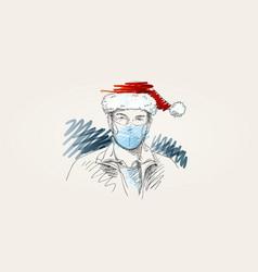 christmas at coronavirus man in face mask and vector image