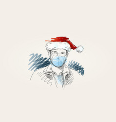 christmas at coronavirus man in face mask vector image