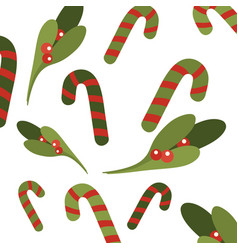 christmas green mistletoe pattern on a white vector image